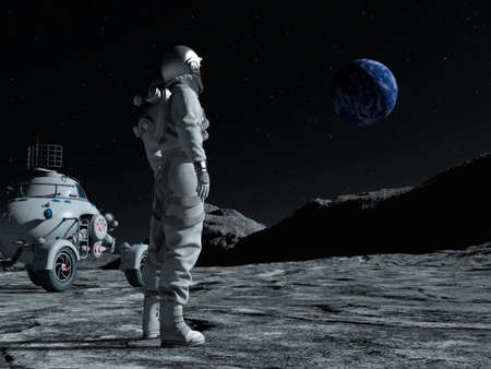 Astronaut at the spacewalk on the moon looking at the earth. Next to him a moon vehicle. 3d rendering.