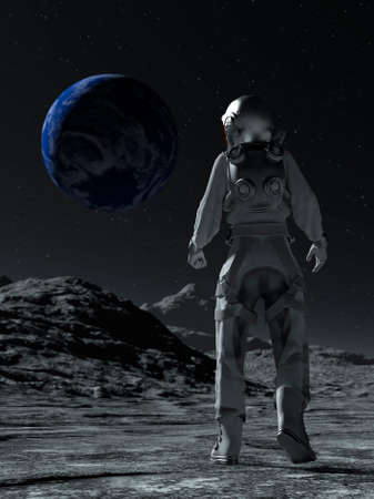 Astronaut at the spacewalk on the moon looking at the earth. 3d rendering.