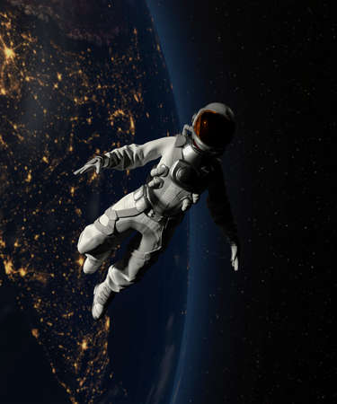 Astronaut walking in space with earth background