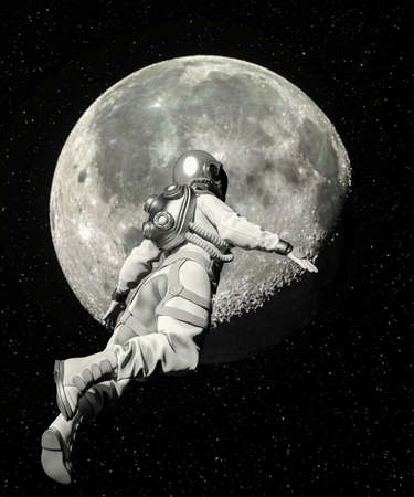 Astronaut walking in space with moon background - 3d rendering