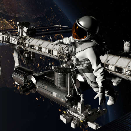 Astronaut walking in space near a space station with earth background - 3d rendering 免版税图像