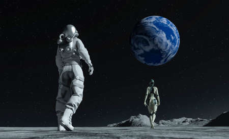Astronaut and cyborg at the spacewalk on the moon looking at the earth. 3d rendering.