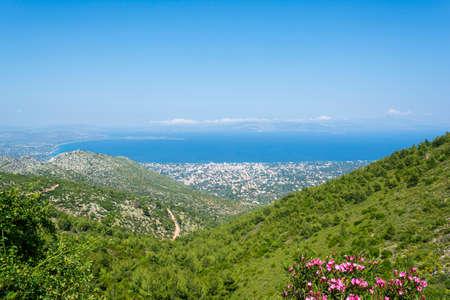 Bay of Nea Makri at Greece 免版税图像