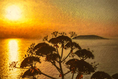 Plant silhouette with scenic sunset at sea. Greece. Digital paint.