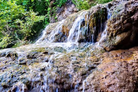 Mountain waterfall view at polilimnio, Messinia, Greece