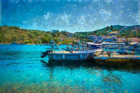 Boats in Corfu island, Greece in the summer - Digital paint