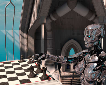 A robot is playing chess. High technology 3d illustration - 3d rendering 免版税图像