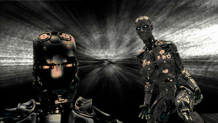 Metallic cyborg and robot on black background - 3d rendering