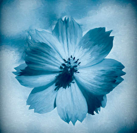 Digital painting of a flower with abstract background - painting effect 免版税图像