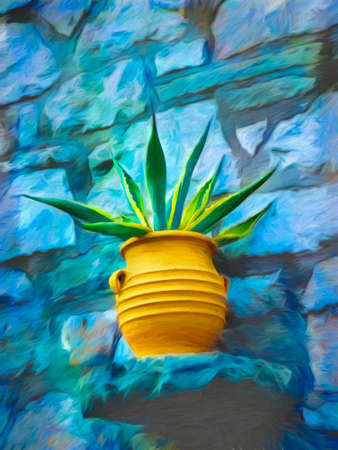 Digital painting of a yellow-green flower in a jar with blue background - painting effect