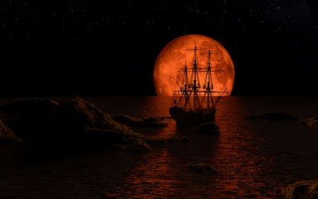 Sailboat at the full red moon - 3d rendering