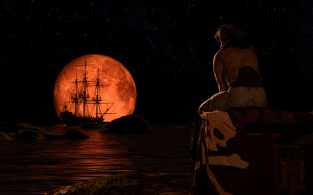 Pirate sailboat at the full red moon. The pirate man sitting on a treasure chest. 3d rendering.