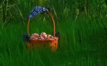 Basket of easter eggs on green grass at sunny day. 3d rendering.