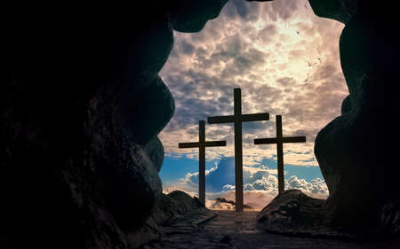 Silhouette of Christ cross from an opened tomb in the resurrection concept. 3d rendering. 免版税图像
