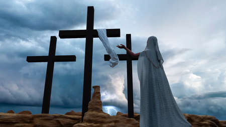 A woman praying in front of Christ cross during a stormy day. 3d rendering. 免版税图像