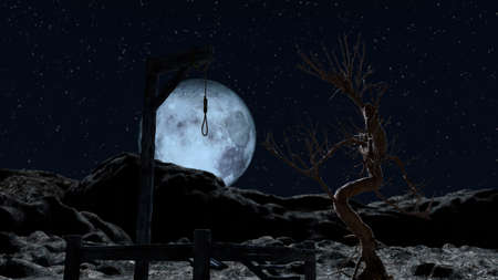Gallow at a spooky night with blue full moon - 3d rendering