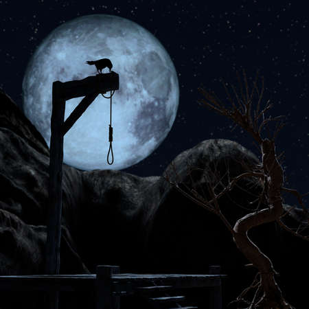 Gallow on a spooky night with a blue full moon. A crow sits on it - 3d rendering