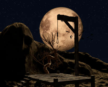 Gallow on a spooky night with a golden full moon and crows - 3d rendering
