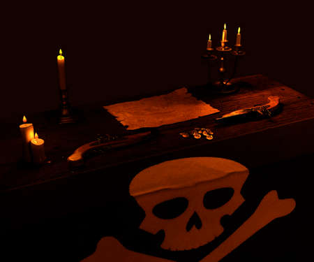 Pirate map with burning candles, flag and two guns - 3d rendering 免版税图像