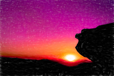 Digital painting of a sunset in mountains. Illustration.