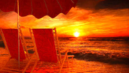 Two empty chairs on beach under opened umbrella with view on sea sunset - 3d rendering with painting effect 免版税图像