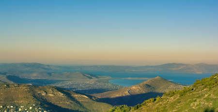 Panoramic photo of beach near Nea Makri as seen from Penteli mountain at the evening, Attica, Greece
