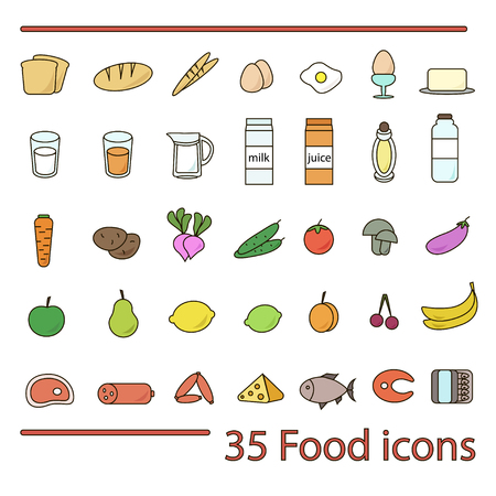 35 food icon set. Colorful isolated icons of fruits, vegetables, meat, seafood and bread