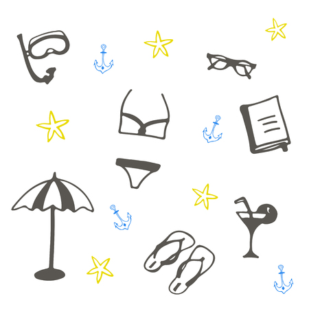 Summer beach set of illustrations. Vacation black and white vector icons.