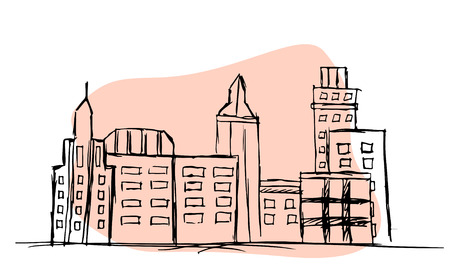 Hand drawn outlined city landscape on pink background. Vectores