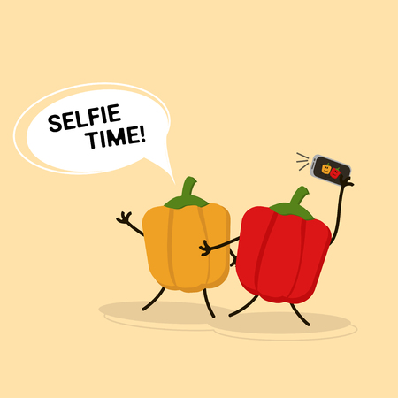 Anthropomorphic orange and red peppers doing selfie. Vector illustration of funny vegetables.