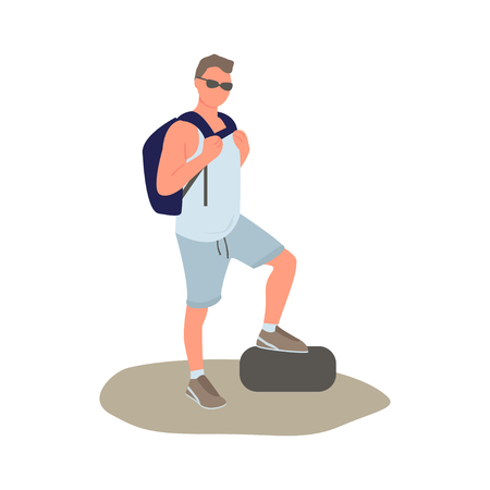 Vector illustration of man in sunglasses with backpack. Stylish character stands by placing his foot on a stone