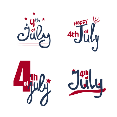 Happy Independence day of USA. Fourth of July lettering. Vector illustration in blue and red colors with stars. 向量圖像