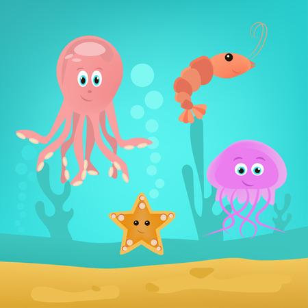 Animaux marins mignons comme le poulpe, les crevettes, les méduses et le seastar. Illustration vectorielle pour paysage sous-marin.