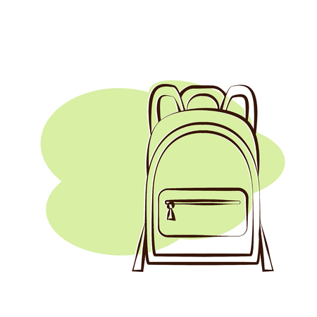 Outlined isolated schoolbag on pink background. Vector illustration of pouch Illustration