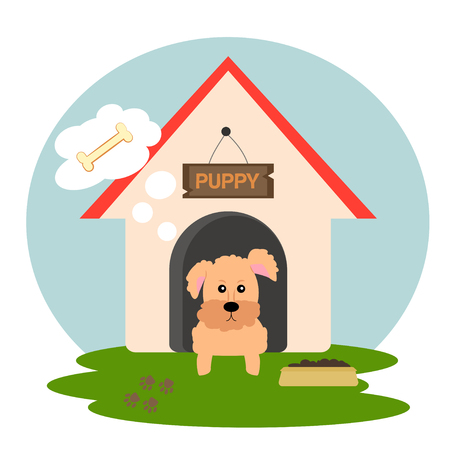 Cuty puppy in doghouse thinking about bone. Vector illustration of dog on the grass.