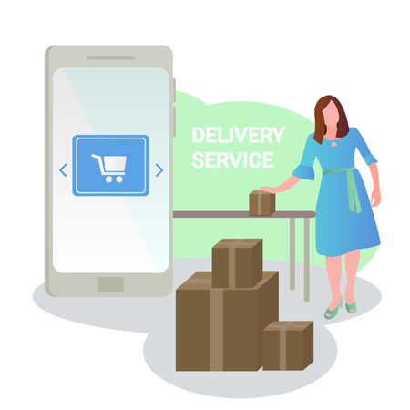Vector illustration about online shopping. Delivery service