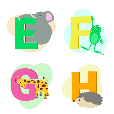 Vector illustration of animal alphabet isolated on white background. Letters from E to H. Cartoon images of elephant, frog, giraffe and hedgehog. Illustration