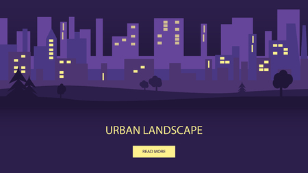 Night urban flat landscape. Vector illustration of city with park. Panoramic background in purple colors. Illustration
