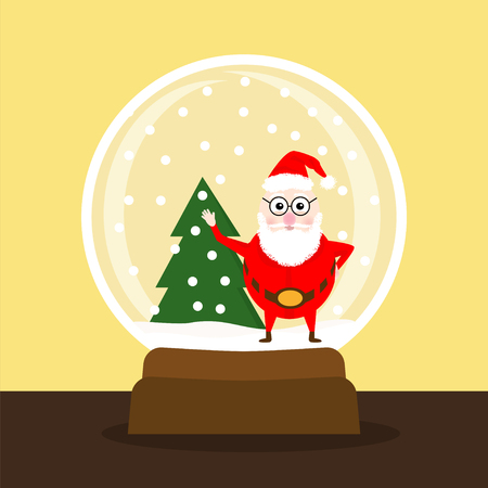 Happy New Year poster. Vector illustration of Santa Claus in glass ball with snow. Cute character celebrate Christmas. Ilustrace