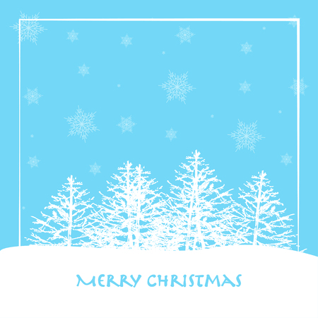 Merry Christmas and Happy New Year greeting card. Vector illustration of coniferous forest in winter. Cold weather with snow. Ilustrace