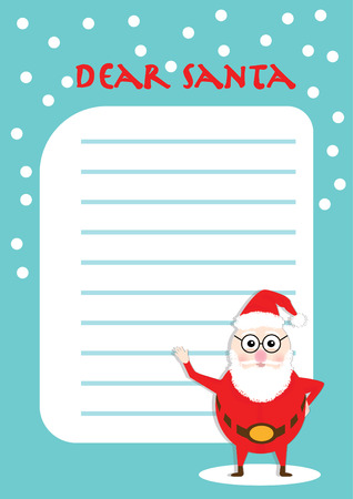 Vector illustration of Letter to Santa Claus. Merry Christmas and Happy New Year poster template.