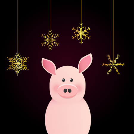 Happy New Year greeting card with chinese symbol of 2019. Vector illustration of cute pink pig. Golden snowflakes hang on threads.