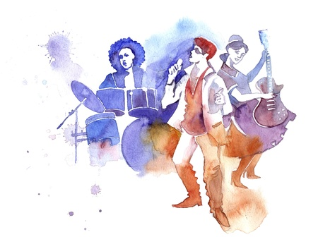 instrumentalist: the band: singer, guitarist and drummer Stock Photo