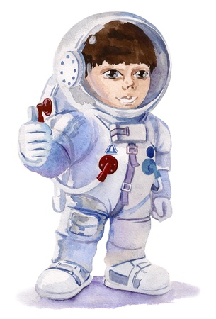 only one teenage boy: cute astronaut boy Stock Photo