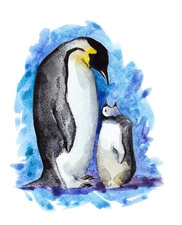 pinguïn Mather en haar kind Stockfoto