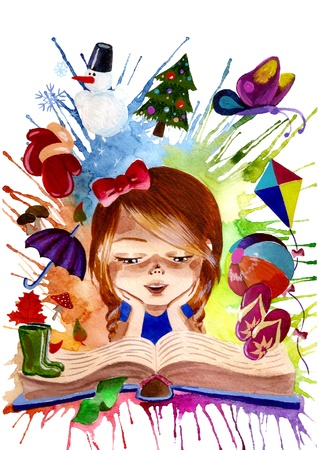 adults learning: girl reading a book about seasons Stock Photo