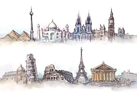 pisa: wereld bezienswaardigheden twee panorama's