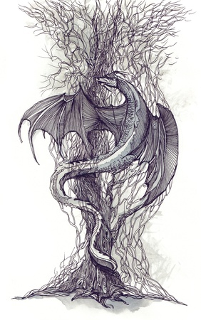 black and white dragon: dragon tree (series C)