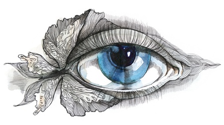 eye care: abstract human eye with butterfly