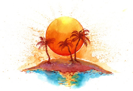 sunset palm trees: sunny island (series C) Stock Photo